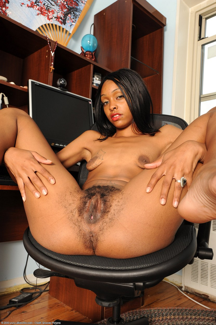 Schoolgirl Spreads On A Chair - Naked Black Babespics-5253