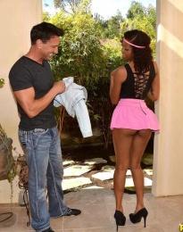 Ebony woman Naked miniskirt black